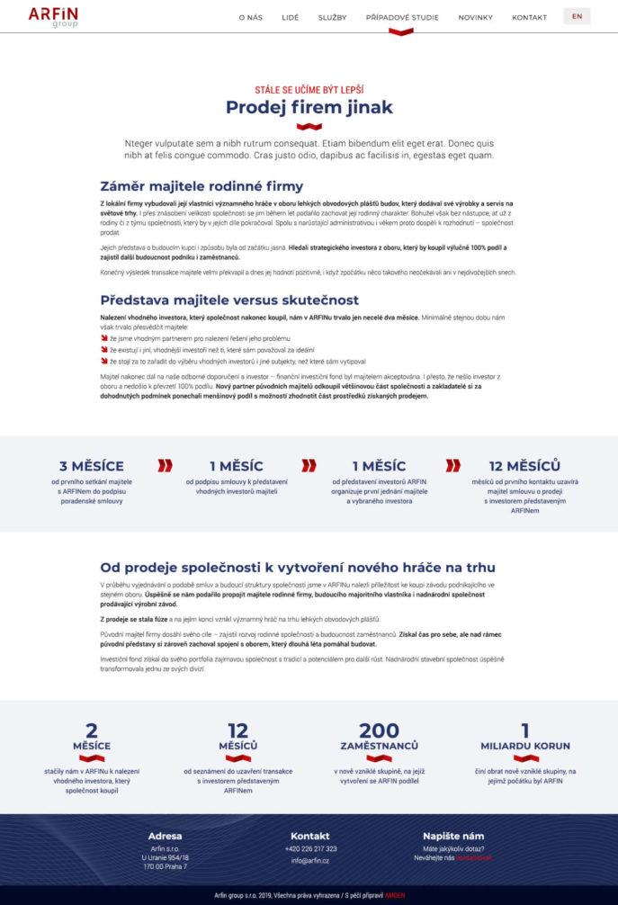 Arfin - Případová studie služby Prodej firem