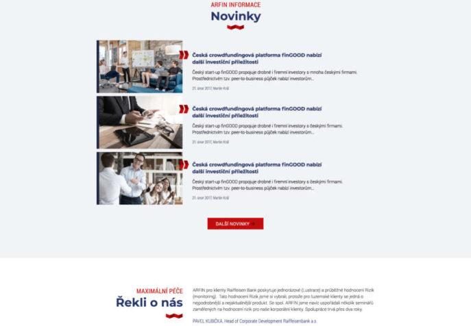 Arfin - úvodní strana online prezentace