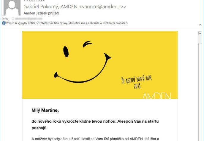 Amden Ježíšek - ukázka personalizovaného emailu
